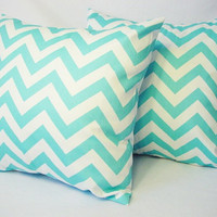 Two Chevron Decorative Pillow Covers Teal and White - 18 x 18 inches Throw Pillow Couch Pillow Cushion Cover Accent Pillow