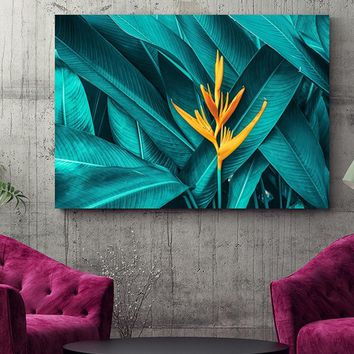 Nordic Yellow Flower Green Tropical Plant Leaves Canvas Poster And Print Wall Art Picture For Living Room Home Decor Framed