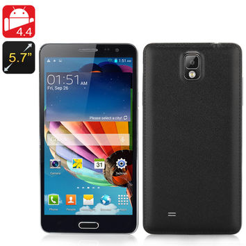 Octa-Core Android  4.4 Phone 'Note3' - 2GB RAM, MTK6592 1.7GHz CPU, 5.7 Inch IPS Display, 8MP Rear Camera, 16GB Memory (Black)
