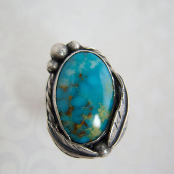 Sterling Silver Rings For Women, Silver Statement Rings, Turquoise Statement Rings, Kingman Turquoise, Turquoise Sterling Silver Ring,  OOAK