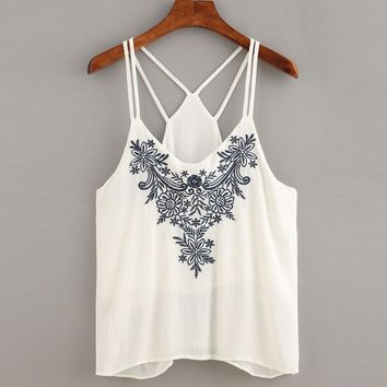 Summer Women Blouse Tank Tops Flower Embroidered Strappy Beach Cami Tops Shirt