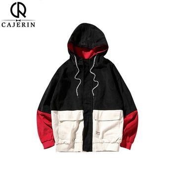 Spring Color Block Patchwork Corduroy Hooded Jackets Hip Hop Hoodies Coats Casual Street wear Couple Outerwear
