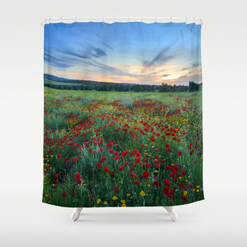 """Spring poppies at sunset."" Shower Curtain by Guido Montañés"