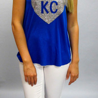 KC Glitter Heart Tank Racerback: Royal Blue