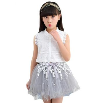 White Lace Top +Tutu Skirts For Girls Set