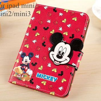 3D Cartoon Mickey Minnie Mouse Head Stand Card wallet Cover Leather Case For apple iPad mini 1 mini 2 mini 3 mini 4 tablet case