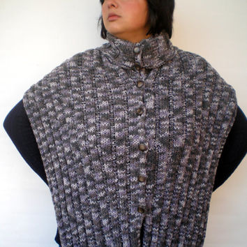 Melange  Grey  Color Poncho  Scarf Hand Knit  Scarf  Soft  poncho buttons  Scarf   NEW