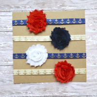 Flower Headband Set, Baby Headband Set, Nautical Headbands, Shabby Chic Headband, 4th of July Headband, red white and blue, Independence Day