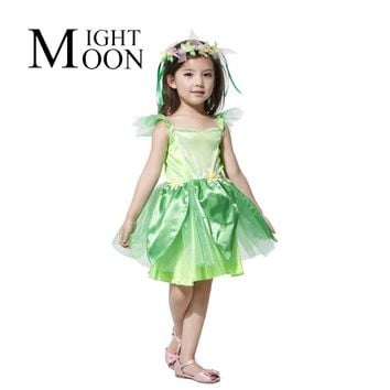 MOONIGHT Halloween The Green Fairy Costume Elf Suit Cosplay Clothing Children Dance Performance Clothing Accessories