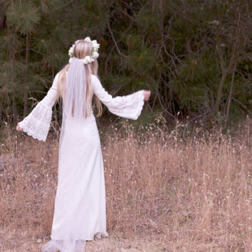 "Bohemian Wedding Dresses Ivory Gown Crochet Satin Hippie Bride Festival Gown Cream White - ""Edie"""