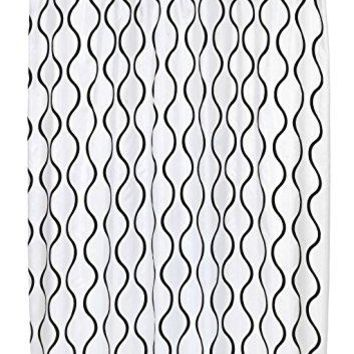 BenandJonah Collection Fabric Shower Curtain 70 x 72 inch  Curvy Lines Geneva Black/White