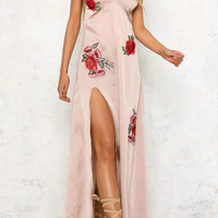 Large Flowers Embroidery Split Prom Dress