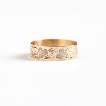 Antique Victorian 8k Rose Gold Leaf Ring - Size 10 Vintage Late 1800s Nature Vine Wedding Cigar Band Fine Stacking Jewelry