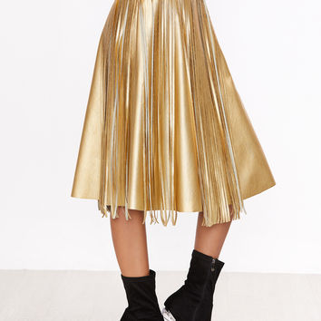 Gold Faux Leather Midi Skirt