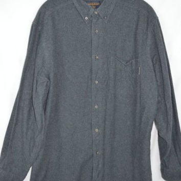 Woolrich Sz Large Mens Shirt Charcoal Gray Cotton Warm