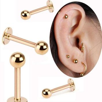 ac PEAPO2Q Isayoe 2 Piece Gold Labret Ring 16G Spike ball surgical Stainless Steel ball Labret  tragus ear body piercing jewelry