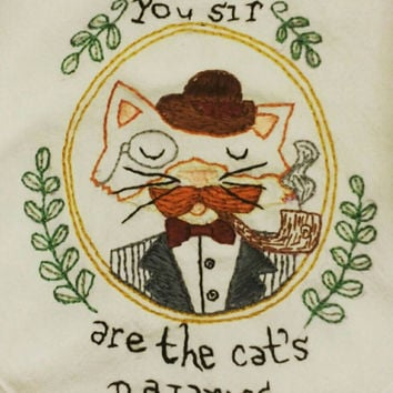 Hand embroidered cotton tea towel, cat, vintage kitchen, steam punk, fancy cat, cats pajamas, hand embroidery, handmade, tea towel