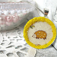 Cute, Glitter Hedgehog Necklace - Sunny, Woodland, Pendant | Luulla