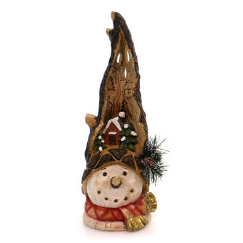 Christmas Snowman Head With Carved Scene Christmas Figurine