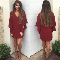 Pure Color Cut Out Chiffon Long Sleeve V-neck Short Dress