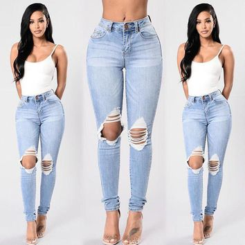 Stylish Women clothes casual Destroyed Ripped Distressed High Waist Hole Slim Denim pocket Button Jeans one pieces