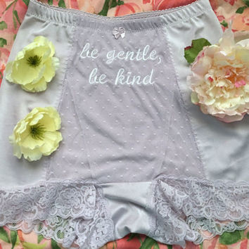 "Embroidered ""be gentle, be kind"" Panties Upcycled Large High Waisted Underwear Bloomers ~ Lavneder Lace Pinup Cosplay 50s Kawaii Lolita"
