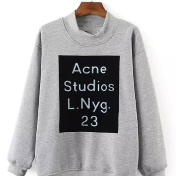 Ladies Long Sleeve Letter Printed Fleece Sweatshirts