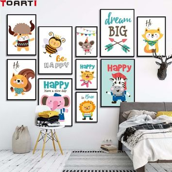 Dream Big Happy Cartoon Animals Poster Wall Art Painting Canvas Picture For Nursery Bedroom Home Decor Modern Wall Murals Prints