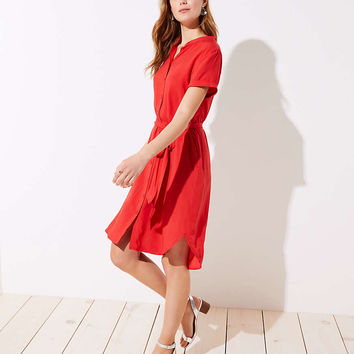 Tie Waist Short Sleeve Shirtdress | LOFT