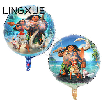 18inch 10pcs/ lot Moana Balloons Cute Princess Aluminum Foil Balloons Birthday Party Decorations Party Supplies Kids toys