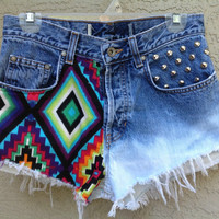 "Aztec Geometric Dip Dye High Waisted Shorts with Chrome Studs  ""Your Size""   //SUZNEWS//"