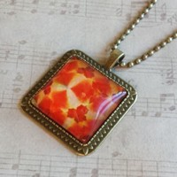 "Autumn Flowers Pattern Square Antiqued Brass Glass 27"" Long Necklace"