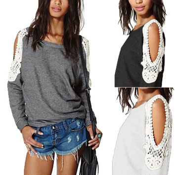S-4XL Womens Long Sleeve Lace Off Shoulder Jumper Pullover T-shirt Tops Blouse = 1958629188