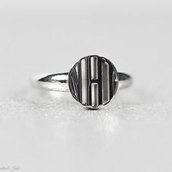Round Monogram Signet Ring in Sterling Silver or White Gold