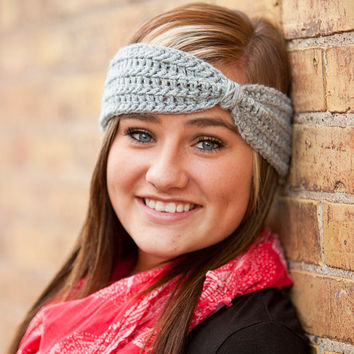 Crochet Turban Headband- Heather Grey or Pick your color