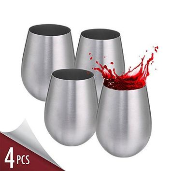Stainless Steel Wine Glass Set for White Red Wine Cocktail Glasses with Stem  2pcs 8oz Dishwasher Safe No BPA Goblet Cup  Elegant for Housewarming Travel Outdoor Camp Picnic Formal Use