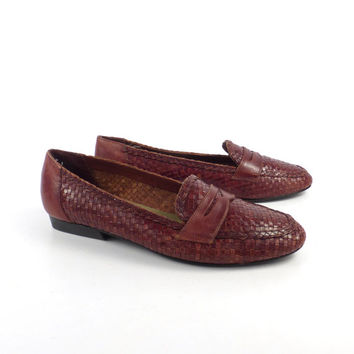 Woven Leather Shoes Burgundy Wine Vintage 1980s Etienne Aigner Women's size 9