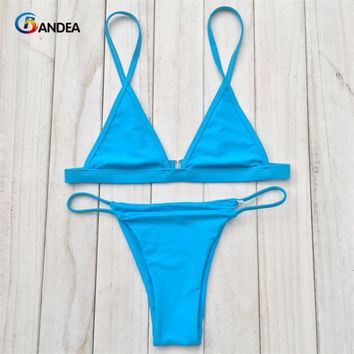 BANDEA 2017 sexy bikini set Women strappy swimwear brazilian bathing suit with Reversible bottom solid hot sell HA924