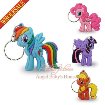 Novelty 4pcs/lot My little ponies PVC keychains Pendents Charms for Necklace Mobile Phone Travel Accessories party favor/gift