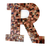 Mosaic Letter, Wall Initial, Wall Hanging, Letter R