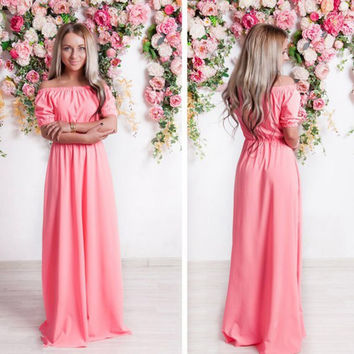 ukraine Summer Autumn Women Dress Solid Slash Neck Long Maxi Dress Short Sleeves Floor Length Dress For Girls Vestidos