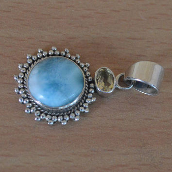 Beautiful Genuine Larimar Pendant,925 Sterling Silver,Gemstone Pendant,Citrine Stone Pendant,Larimar Unique Blue Larimar handmade Jewelry