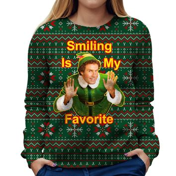 Smiling Is My Favorite Elf Womens Sweatshirt
