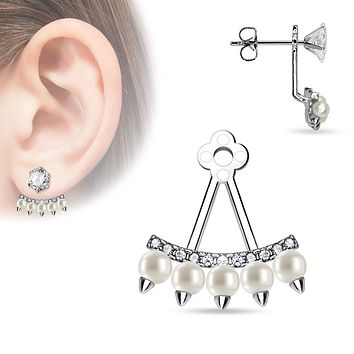 Lined CZ Fan with Pearls Add On Ear WildKlass Ring/Cartilage WildKlass Barbell Jacket (Sold by Piece)