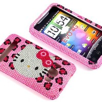 Smile Case Hello Kitty Leopard Bling Rhinestone Crysal Jeweled Snap on Full Cover Case for Sprint HTC EVO 4G (EVO-Leopard)