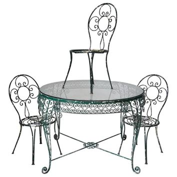 Intricately Wrought-Iron Garden Chair and Table, Set, France, 1950s