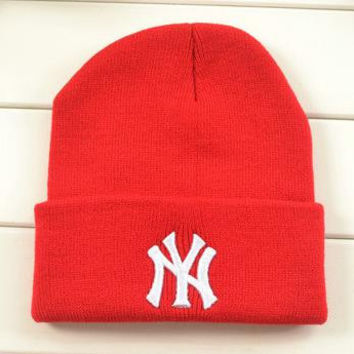New York Classic Letters Embroidered Knitted Wool Winter Red Women & Mens Cuffed Skully Hat