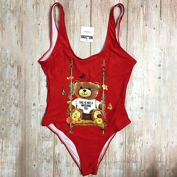 Moschino Tide brand female sexy backless beach holiday wind swimsuit bikini Red