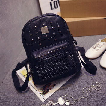 Casual Backpack Stylish Rinsed Denim Travel Bags [6582651015]
