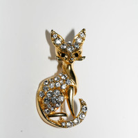 Cat Brooch Pin Rhinestone  and Gold Cat Jewelry